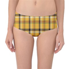 Plaid Yellow Line Mid Waist Bikini Bottoms by Alisyart