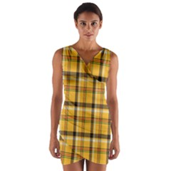 Plaid Yellow Line Wrap Front Bodycon Dress