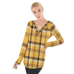 Plaid Yellow Line Women s Tie Up Tee by Alisyart