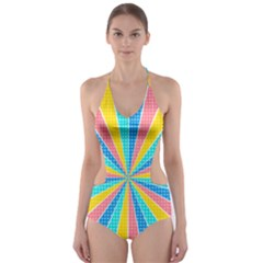 Rhythm Heaven Megamix Circle Star Rainbow Color Cut Out One Piece Swimsuit