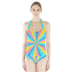Rhythm Heaven Megamix Circle Star Rainbow Color Halter Swimsuit by Alisyart