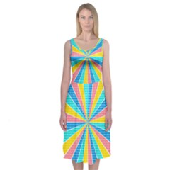 Rhythm Heaven Megamix Circle Star Rainbow Color Midi Sleeveless Dress by Alisyart