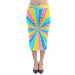 Rhythm Heaven Megamix Circle Star Rainbow Color Midi Pencil Skirt
