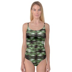 Stripes Camo Pattern Print Camisole Leotard  by dflcprintsclothing