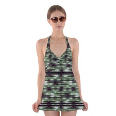 Stripes Camo Pattern Print Halter Swimsuit Dress by dflcprintsclothing