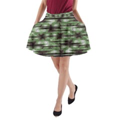 Stripes Camo Pattern Print A Line Pocket Skirt by dflcprintsclothing