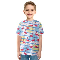 Flamingo Pattern Kids  Sport Mesh Tee