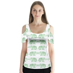 Indian Elephant Pattern Butterfly Sleeve Cutout Tee