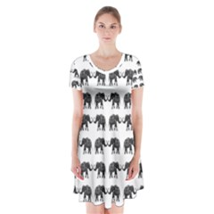 Indian Elephant Pattern Short Sleeve V Neck Flare Dress by Valentinaart