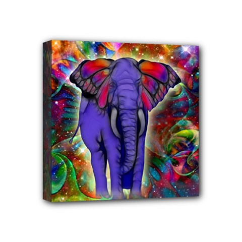 Abstract Elephant With Butterfly Ears Colorful Galaxy Mini Canvas 4  X 4