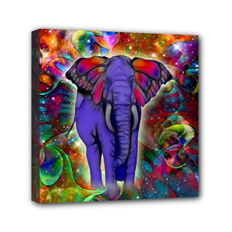 Abstract Elephant With Butterfly Ears Colorful Galaxy Mini Canvas 6  X 6