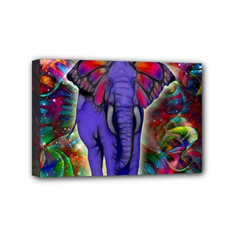 Abstract Elephant With Butterfly Ears Colorful Galaxy Mini Canvas 6  X 4