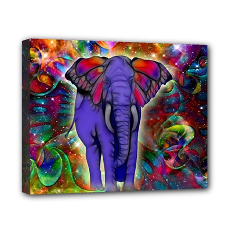 Abstract Elephant With Butterfly Ears Colorful Galaxy Canvas 10  X 8