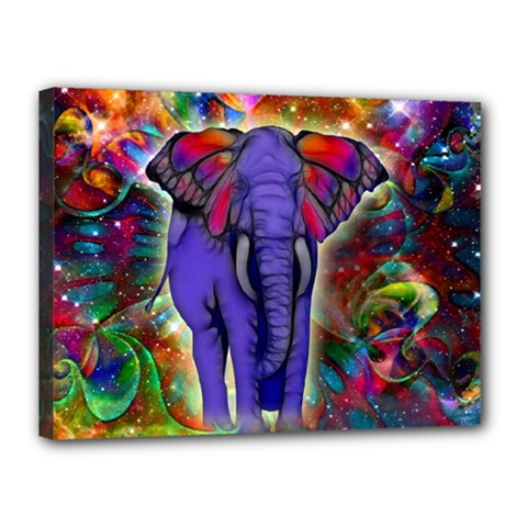 Abstract Elephant With Butterfly Ears Colorful Galaxy Canvas 16  X 12