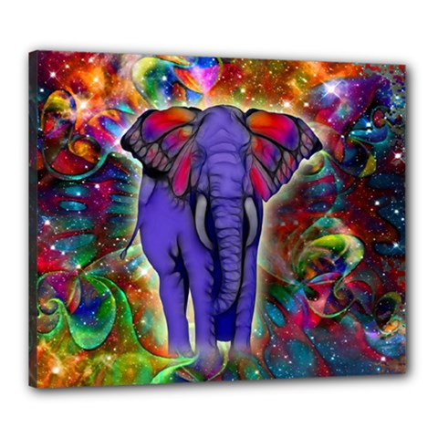 Abstract Elephant With Butterfly Ears Colorful Galaxy Canvas 24  X 20  by EDDArt