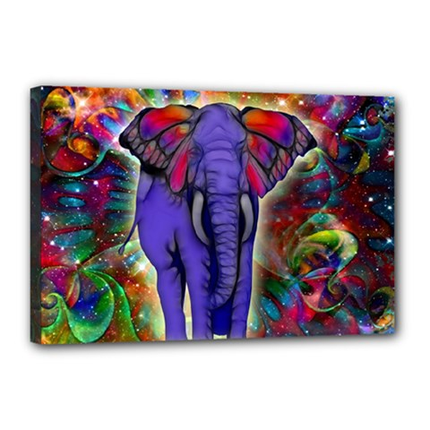 Abstract Elephant With Butterfly Ears Colorful Galaxy Canvas 18  X 12