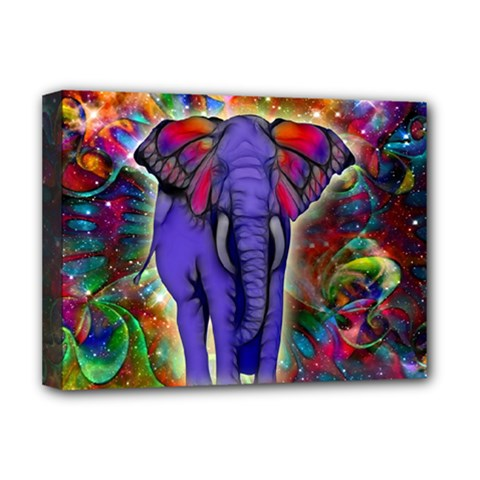 Abstract Elephant With Butterfly Ears Colorful Galaxy Deluxe Canvas 16  X 12