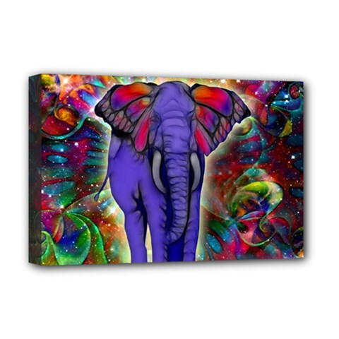 Abstract Elephant With Butterfly Ears Colorful Galaxy Deluxe Canvas 18  X 12