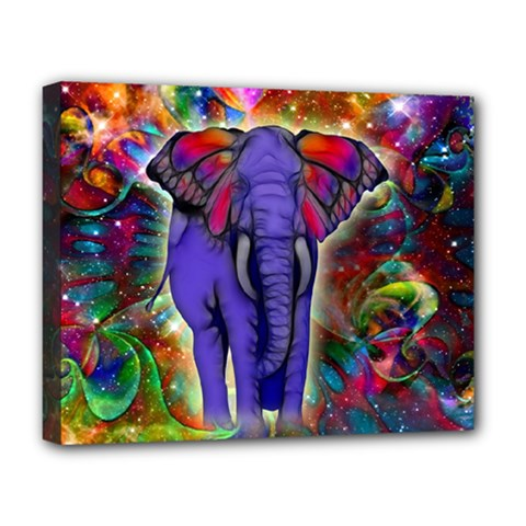Abstract Elephant With Butterfly Ears Colorful Galaxy Deluxe Canvas 20  X 16   by EDDArt