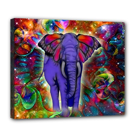 Abstract Elephant With Butterfly Ears Colorful Galaxy Deluxe Canvas 24  X 20