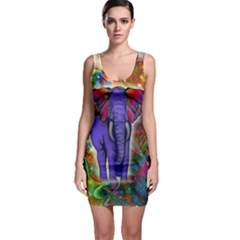 Abstract Elephant With Butterfly Ears Colorful Galaxy Sleeveless Bodycon Dress