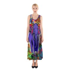 Abstract Elephant With Butterfly Ears Colorful Galaxy Sleeveless Maxi Dress