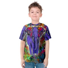 Abstract Elephant With Butterfly Ears Colorful Galaxy Kids  Cotton Tee