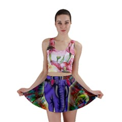 Abstract Elephant With Butterfly Ears Colorful Galaxy Mini Skirt