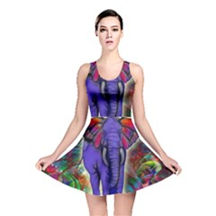 Abstract Elephant With Butterfly Ears Colorful Galaxy Reversible Skater Dress