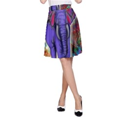 Abstract Elephant With Butterfly Ears Colorful Galaxy A Line Skirt by EDDArt