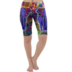 Abstract Elephant With Butterfly Ears Colorful Galaxy Cropped Leggings