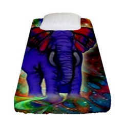 Abstract Elephant With Butterfly Ears Colorful Galaxy Fitted Sheet (single Size)