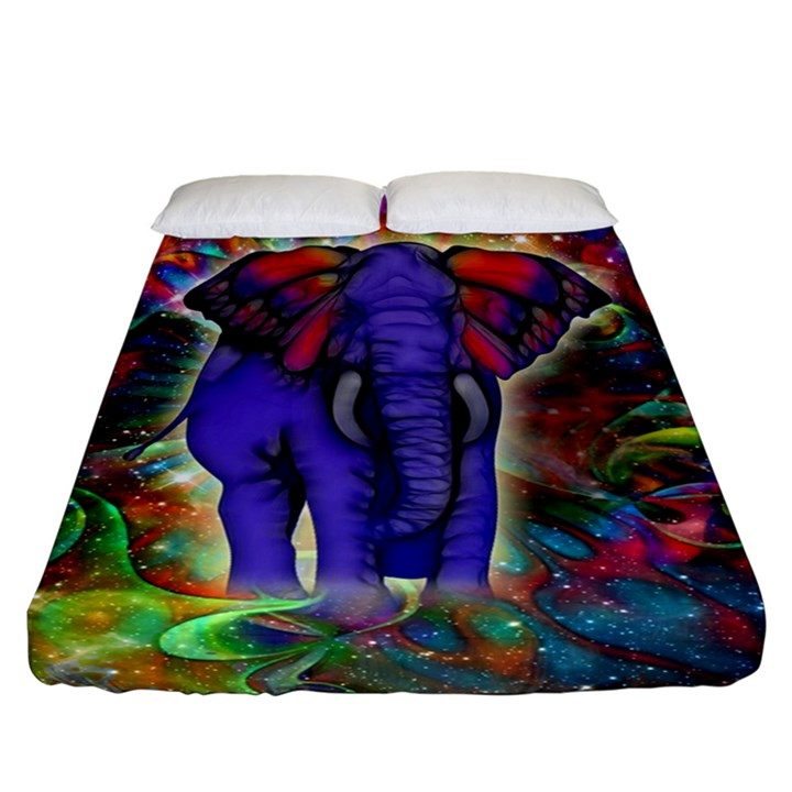 Abstract Elephant With Butterfly Ears Colorful Galaxy Fitted Sheet (California King Size)