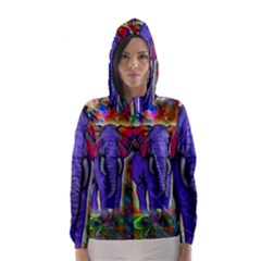 Abstract Elephant With Butterfly Ears Colorful Galaxy Hooded Wind Breaker (women)