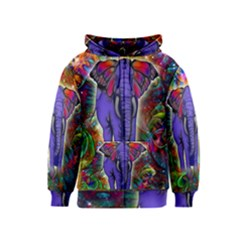 Abstract Elephant With Butterfly Ears Colorful Galaxy Kids  Zipper Hoodie