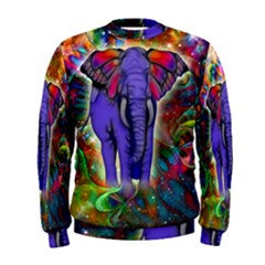 Abstract Elephant With Butterfly Ears Colorful Galaxy Men s Sweatshirt