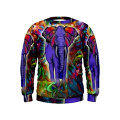 Abstract Elephant With Butterfly Ears Colorful Galaxy Kids  Sweatshirt