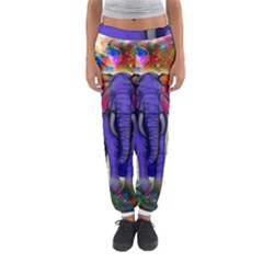 Abstract Elephant With Butterfly Ears Colorful Galaxy Women s Jogger Sweatpants