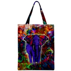 Abstract Elephant With Butterfly Ears Colorful Galaxy Zipper Classic Tote Bag by EDDArt