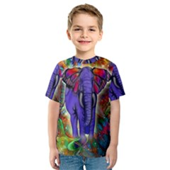 Abstract Elephant With Butterfly Ears Colorful Galaxy Kids  Sport Mesh Tee