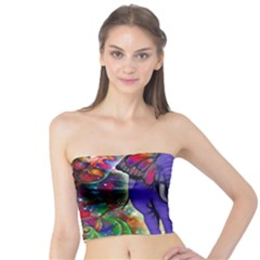 Abstract Elephant With Butterfly Ears Colorful Galaxy Tube Top