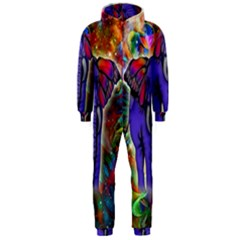 Abstract Elephant With Butterfly Ears Colorful Galaxy Hooded Jumpsuit (men)