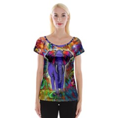 Abstract Elephant With Butterfly Ears Colorful Galaxy Women s Cap Sleeve Top