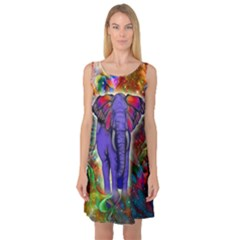 Abstract Elephant With Butterfly Ears Colorful Galaxy Sleeveless Satin Nightdress
