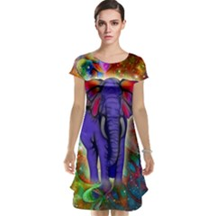 Abstract Elephant With Butterfly Ears Colorful Galaxy Cap Sleeve Nightdress