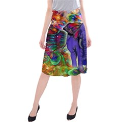 Abstract Elephant With Butterfly Ears Colorful Galaxy Midi Beach Skirt