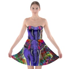 Abstract Elephant With Butterfly Ears Colorful Galaxy Strapless Bra Top Dress