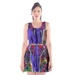 Abstract Elephant With Butterfly Ears Colorful Galaxy Scoop Neck Skater Dress