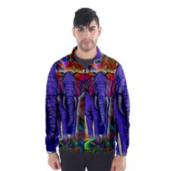 Abstract Elephant With Butterfly Ears Colorful Galaxy Wind Breaker (men)