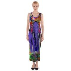 Abstract Elephant With Butterfly Ears Colorful Galaxy Fitted Maxi Dress